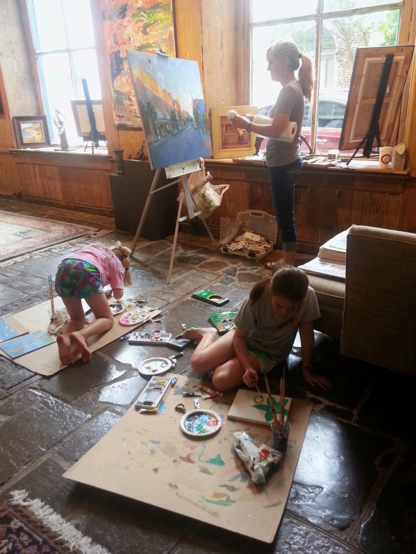 """A rainy summer day when girls came to paint with me in the gallery."""