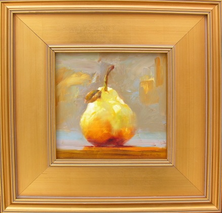 Golden Pear I   Nancy Hoerter, Horton Hayes Fine Art oil on board, 11x11 framed retail price $850 starting bid $283