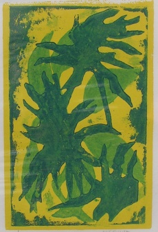 Leaf 3/5  Corrie McCallum, Corrigan Gallery stencil/monotype, 5 3/8 x 3 1/2   retail price $300 starting bid $100