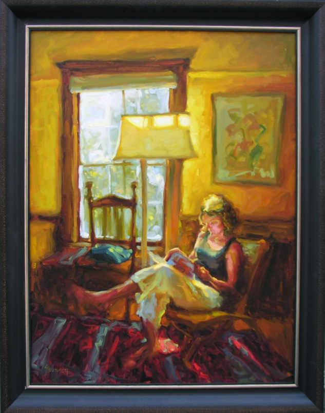 Reading Room Shannon Smith Hughes, Anglin Smith Fine Art oil on linen, 46x36 framed  retail price $7,000 starting bid $2,340