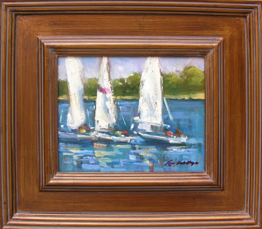 Sailing Away   Karen Hewitt Hagan, Hagan Fine Art oil on linen, 15x17 framed retail price $800 starting bid $270