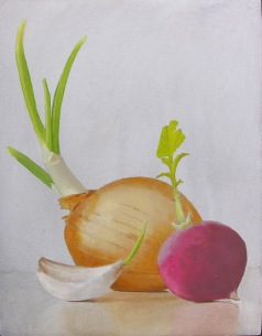 Veg Study Erik Johnson, Robert Lange Studios oil on board, 6x5 retail price $300 starting bid $100
