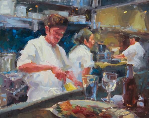 Sushi Bar,oil_linen, 24x30